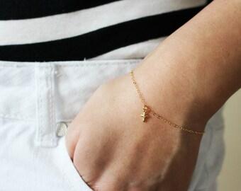 Tiny Cross Bracelet / Small Gold Cross Bracelet / Delicate Bracelet / Gift for her