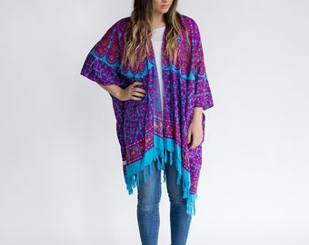 Ocean Escape Kimono | Womens OneSize Plus, Bohemian Mandala Sarong, Turquoise, Comfy Robe, Stylish, Lightweight, Spring, Fall, Summer Beach