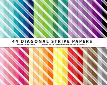 """Diagonal Stripe Digital Paper Pack 12"""" x 12"""" Commercial and Personal Use Allowed printable 44 sheets (diagonal stripes 15) INSTANT DOWNLOAD"""