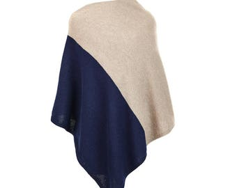 Lambswool and angora two colour poncho
