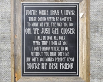 Wedding Song or First Dance Print. Song Lyrics. Valentine's Gift for Husband. Tim McGraw More Than a Lover.