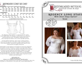 Printable Regency Stays Pattern size XS for Historical Corset Undergarment with Short Stays Option