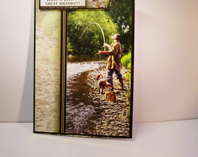 Course  Fishing Card, River Fishing, Man And His Dog, Fishing Card, Male Card, Birthday Wishes,