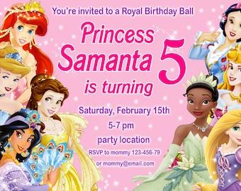 SALE, Disney Princess Birthday Invitation, Disney Princess Invitation, Princess Invitation, girls Birthday Invitation- Digital file