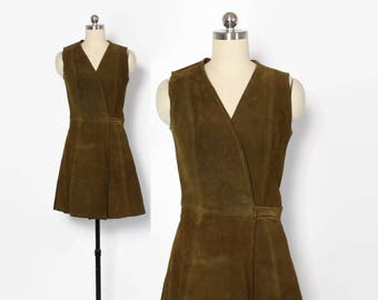 Vintage 60s Mod Leather DRESS / 1960s Suede Hippie Wrap Mini Dress
