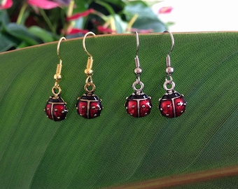 Red Beetle Earrings Gold Silver Drop