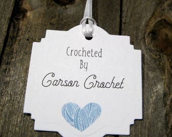 Hand crocheted Tags -  Set of 20 - Personalized - Store tags - Handmade - Hand made - crocheted by - yarn - Handmade by - Hang tags