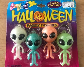 Vintage Lisa Frank Halloween Zoomer Zorbit Aliens Party Favors Keychains