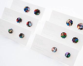 Star studs   Kaleidoscope glitter   Laser cut acrylic earring   Choose size