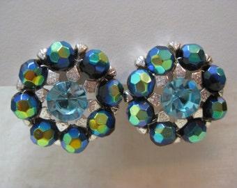 Green Blue Aurora Silver Earrings Pierced Post Rhinestone Vintage