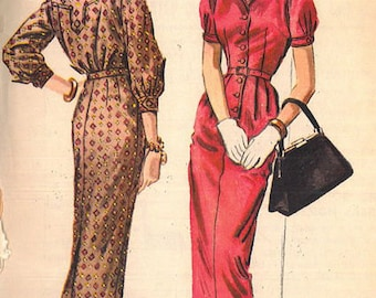 Vintage Sewing Pattern McCall's 4174 Misses' 1950s Form Fitting Sheath Dress with Back Yoke Detail and Sleeve Options