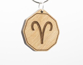 Zodiac Aries Keychain - Aries Charm Wood Keyring - Horoscope - Astrology - Aries Charm - Engraved Aries the Ram Charm - Star Sign Keychain