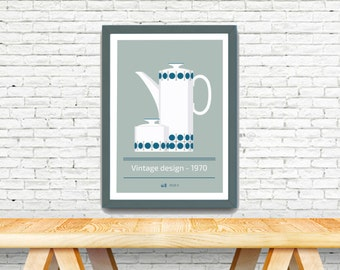 Poster vintage with french design, old blue coffee pot , french style poster.