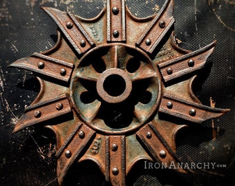 Industrial Wheel, Antique Cast Iron Farmhouse Decor
