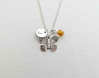 Butterfly Initial Necklace Personalized Hand Stamped - with Silver Butterfly Charm and Custom Bead