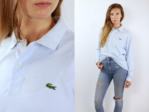 LACOSTE Poloshirt Lacoste Polo Shirt Lacoste Blue Poloshirt Lacoste Vintage T Shirt Lacoste  T-Shirt Blue  Lacoste Shirt Medium Poloshirt