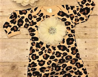 Animal Print Baby Gown, Baby Girl Gown, Leopard Baby Girl Gown, Newborn Girl Leopard Gown, baby clothes, newborn girl, baby girl clothing