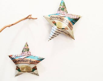 Leinenkugel Summer Shandy or Grapefruit Shandy Beer Stars, Christmas Ornaments, Aluminum Can, Upcycled