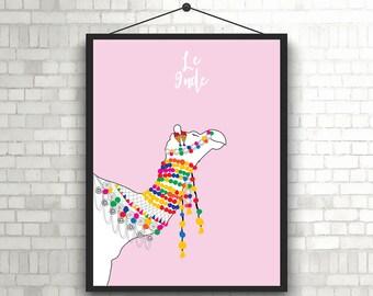 Le Inde- Colorful Indian Camel // Camel Art // Pushkar Camel Wall Art