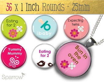Baby On Board - (1x1) One Inch or 25mm Round Pendant Images - Digital Sheet - Buy 2 Get 1 Free - Instant Download - Bottle Cap Images