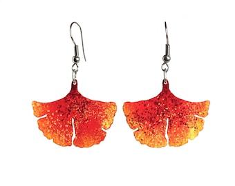Ginkgo leaf earrings, Enameled stainless steel, natural statement earrings, colorful earrings, ginkgo earrings, ginkgo jewelry