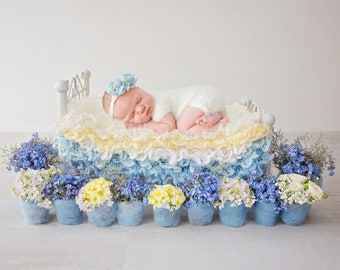 Newborn Photography Digital Backdrop - Little bed with Forget me Nots and Wild Flowers