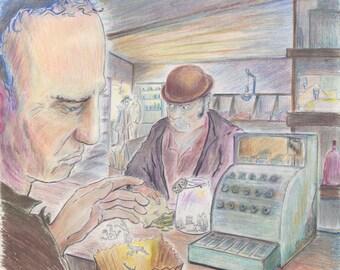 "Title: ""Grocery Man"" (Digital Print of Pencil Illustration)"