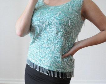 50's BEADED Sequin Wool Top British Hong Kong Size 36
