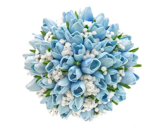 Stemple's Gatherings - A grouping of Real Touch Artificial Light Blue Tulips & Baby's Breath - Dropped in a vase or as a wedding bouquet