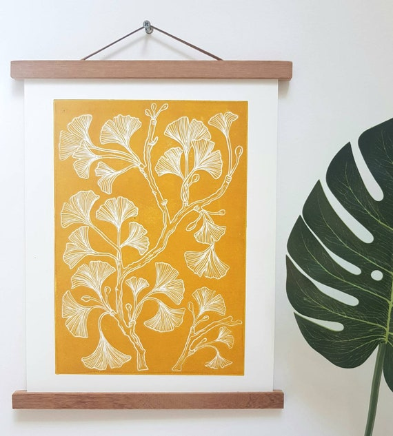 Mustard Yellow Ginkgo Print botanical wall art mustard yellow
