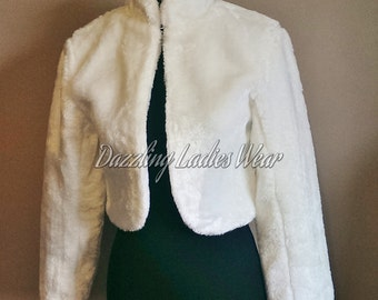 Long Sleeved Faux Fur Bolero / Shrug / Jacket / Shawl / Wrap / Weddings Satin Lining - UK 4-24 / US 1-20 Colours available : Black or Ivory
