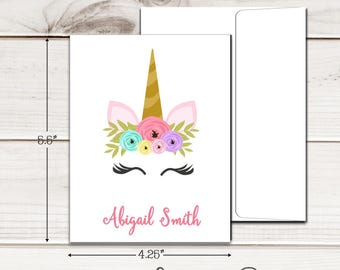 Personalized Unicorn Face Note Cards - Set of 12 - Blank Inside with Envelopes