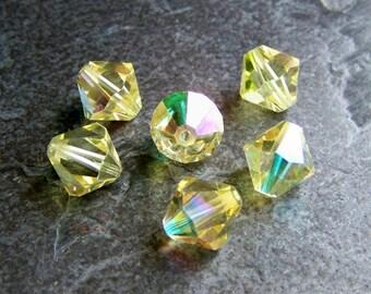 Vintage Swarovski 10mm Jonquil AB Bicone Bead-Article 5301-Corona-6 Beads