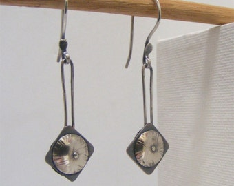 Sterling silver and shibuichi squares and domes geometric earrings