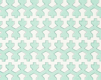 Modern Mint Green Upholstery Fabric - Contemporary Mint Green Geometric Curtains and Romans Shades - Mint Green Geometric Pillow Covers
