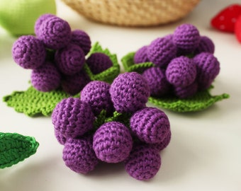 Hand-Crocheted Grapes /1pc/ | Baby Rattle | Baby Toy| Crochet Food | Pretend Play | FrejaToys
