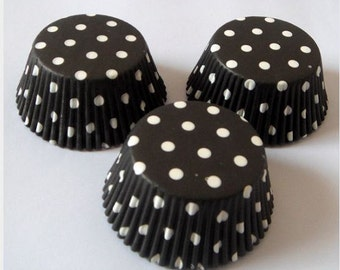 Black with white Polka Dot Cupcake Liners
