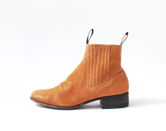 1990s Tan Nubuck Leather Chelsea Boots