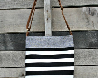 Crossbody Bag, Denim, Black and White Stripe, Genuine Leather, Everyday Purse, Adjustable Strap