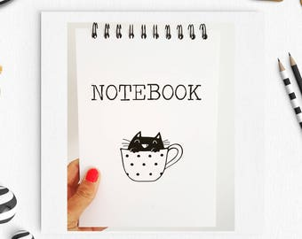 Cat in a Teacup, Typography Notebook, Cat Pad, Cat Notebook, Cat Lover, Quote Notebook, Personalised Notebook, Gift for her, gift for him,
