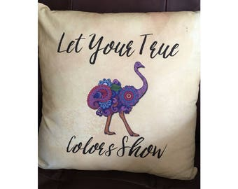Colorful Ostrich Throw Pillow