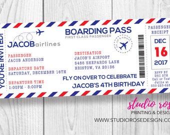 Boarding pass invite etsy boarding pass birthday invitation airplane boarding pass invite birthday invitation party invitation filmwisefo