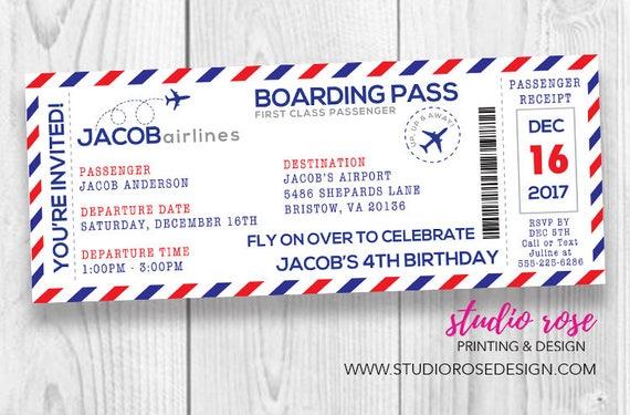 Boarding pass birthday invitation airplane boarding pass filmwisefo