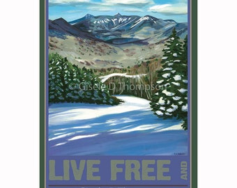 Live Free and Explore NH Poster 8x12 print winter, View from Loon Mountain