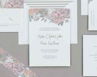Vintage Rustic Pastel Floral Wedding Invitations,Rustic Boho Floral Wedding Invites,Vintage Floral Wedding Invitations,Boho Floral Wedding