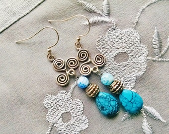Silver southwest teardrop turquoise dangle earrings
