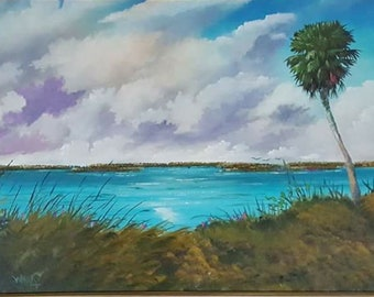 Original Oil Painting Florida Landscape Art Tropical Painting Triple Palms on Lake Okeechobobee shore on Canvas Large 24' x '48 whirls