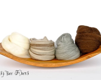 4 SHADES OF MERINO Undyed Soft Natural Combed Top Wool Roving Spinning Felting Weaving Fiber Wool Sampler - 4 oz