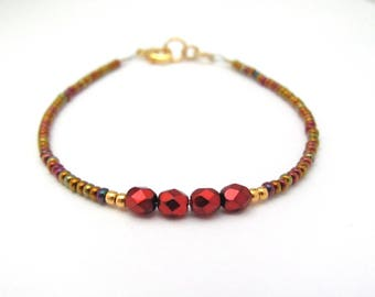 Red Bracelet Seed Bead Faux Pearl Friendship Dainty minimal jewelry, Gold Iris Multi Color Hawaiian Jewelry Stacking Layering