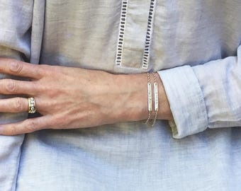 Stamped Bar Bracelet, Sterling Silver, Personalized Bar Bracelet, 50 Percent Off, Horizontal Bar Bracelet, Graduation Gift, Custom Bracelet